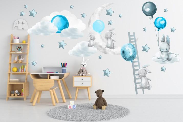 Naklejki dla dzieci na ścianę króliczki balony ksieżyc 41490 - 1