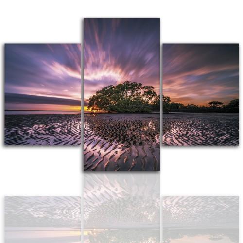 Tryptyk do salonu - Pejzaż, wyspa, zachód słońca 12259 - 1