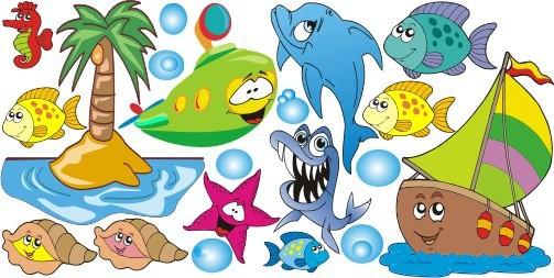 Naklejka ścienna dla dzieci -  morze, ryby zestaw 116 - 1