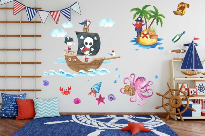 Naklejki na ścianę dla dzieci -  Morze, wyspa, piraci, statek 10373 - 1