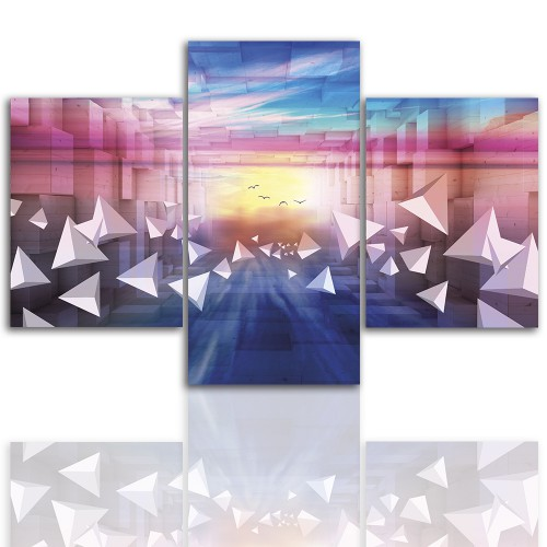 Tryptyk do salonu - Pejzaż, kolorowa abstrakcja 12236 - 1
