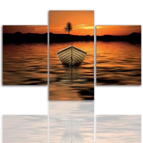 Tryptyk do salonu - Pejzaż, zachód, morze, łódź 12047 - 1