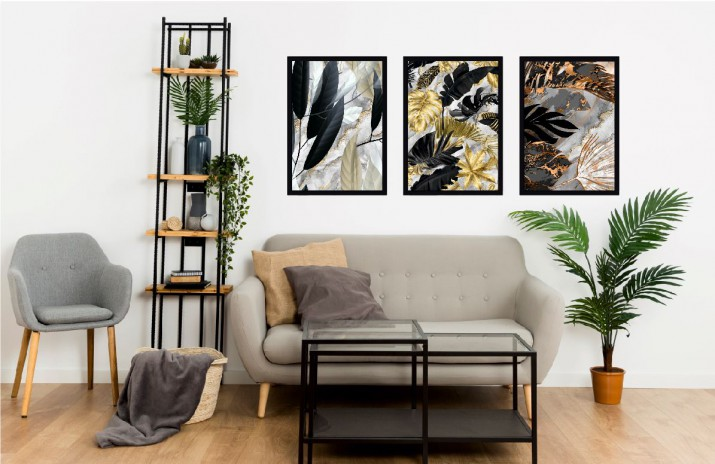 Komplet trzech plakatów w ramie glamour natura KP051 - 1