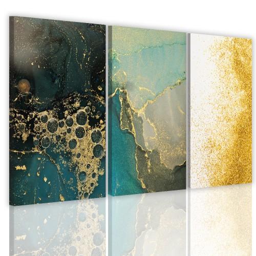 Tryptyki do salonu sypialni 41126 obrazy na  ścianę  złota abstrakcja - 1