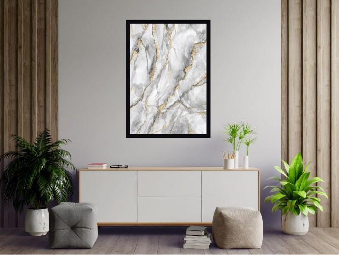 Plakat Biały marmur ze złotymi przerostami szkic 61149 - 1