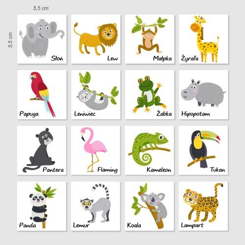 Magnes magnesy na lodówkę zwierzęta dżungla 16 szt - 1