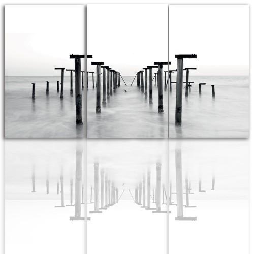 Tryptyk do salonu - Pejzaż, morze, mgła 12217 - 1
