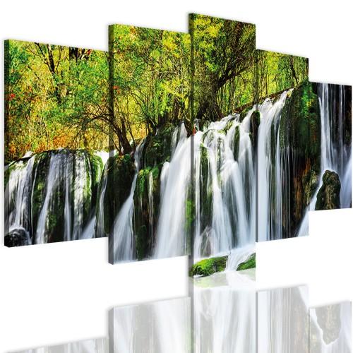 Obrazy 5 częściowe-  Las, wodospad 12352 - 1