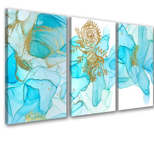 Obraz na ścianę do salonu sypialni 41265 abstrakcje turkusowe - 1