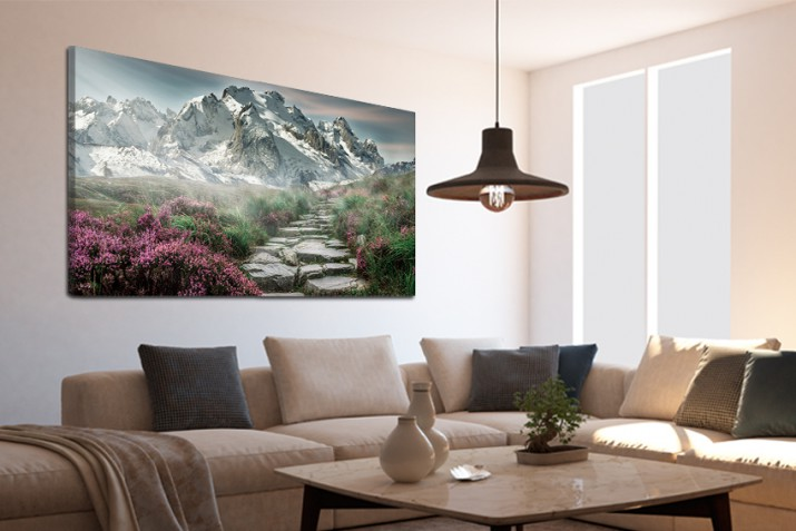 Obraz na ramie płótno canvas- pejzaż, góry, szlak, droga 15063 - 1
