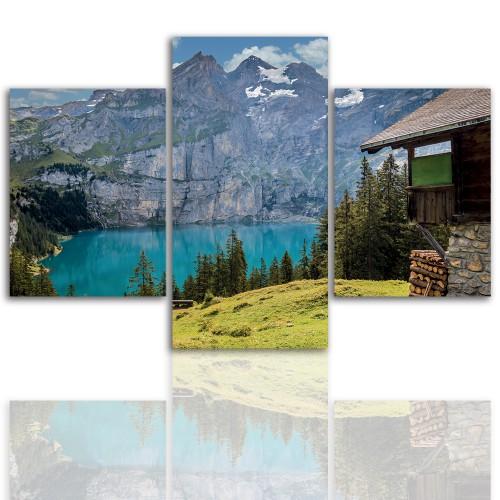 Tryptyk do salonu - Pejzaż, góry, jezioro 12078 - 1