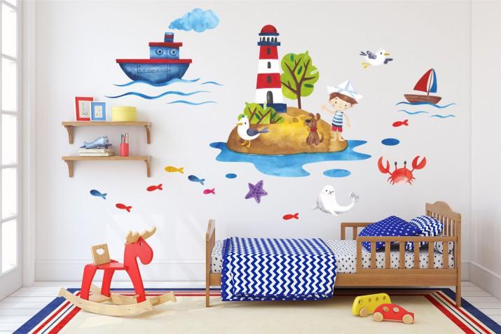 Naklejki na ścianę dla dzieci - 10367  Morze, wyspa, piraci, statek - 1