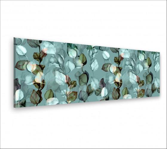 Obraz na ścianę do sypialni salonu akwarela, liście, zielona kurtyna 20129 - 1