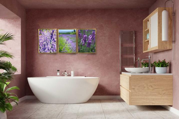 Zestaw plakatów trzy plakaty na ścianę w ramie do łazienki AG025 - 1