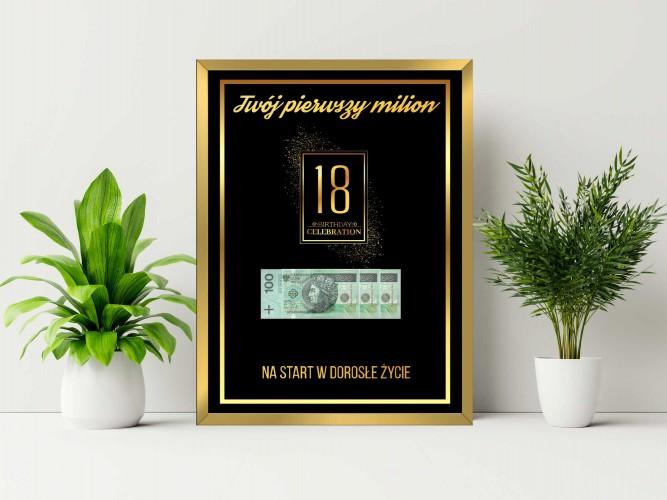 Plakat w ramie na pieniądze złoty pył  PP004 - 1
