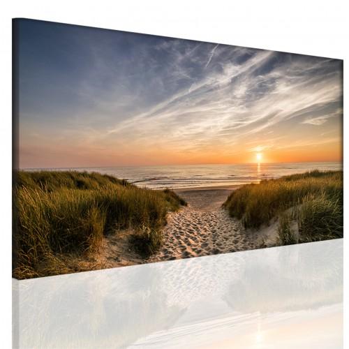 Obraz na ramie płótno canvas- pejzaż, morze, plaża, wydmy 15087 - 1