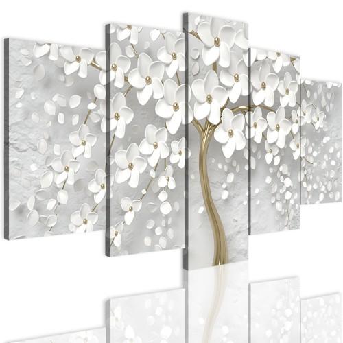 Obrazy na ścianę 5 częściowy 41534 drzewo 3d złoto - 1