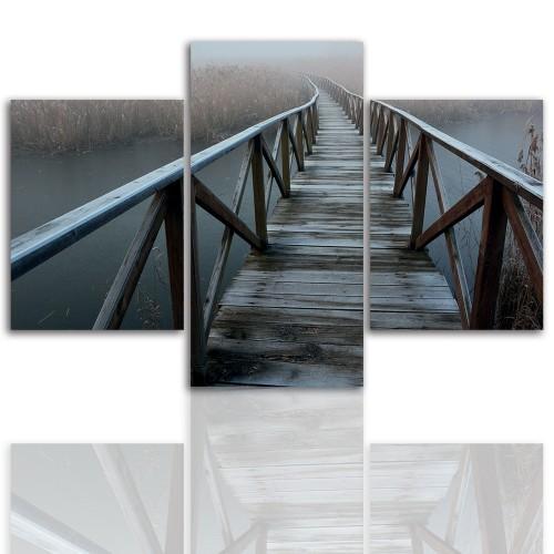 Tryptyk do salonu - Pejzaż, most, jezioro 12068 - 1