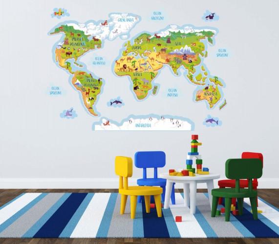 Naklejka ścienna - mapa świata ze zwierzątkami 10691 - 1