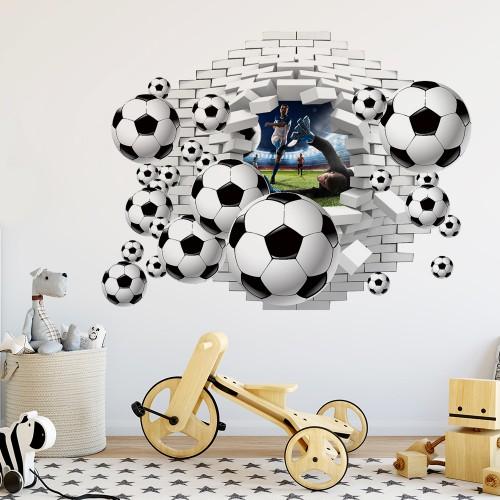 Naklejka na ścianę, dziura 3D piłkarze, piłki 2402 - 1