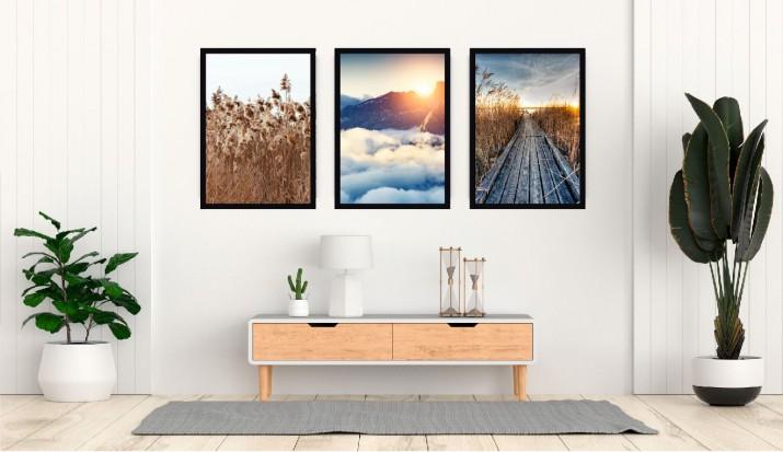 Plakaty skandynawskie zestaw 3 sztuk zachód słońca KP038 - 1