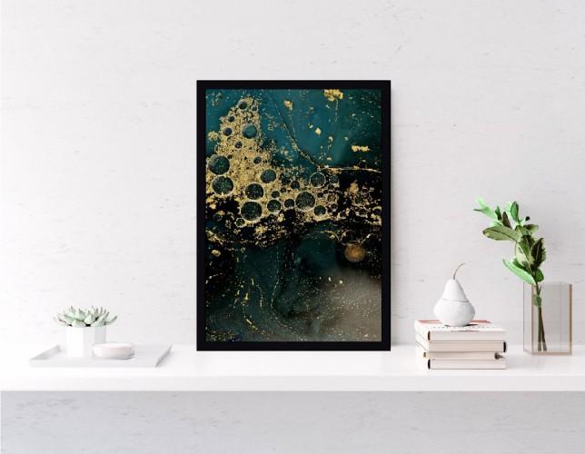 Plakat marmur złoto zieleń 61173 - 1