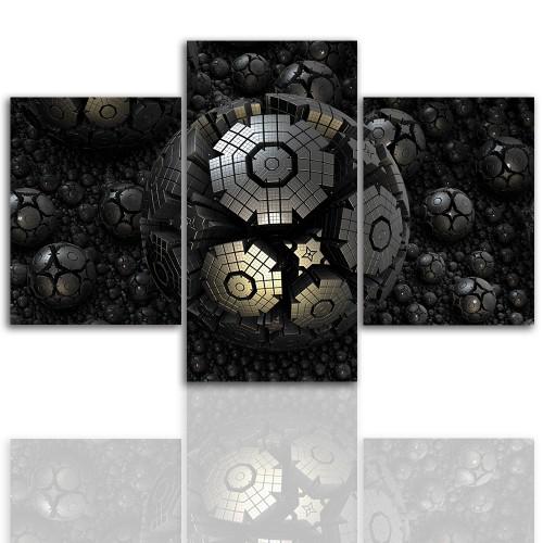Tryptyk do salonu - Obraz, stalowa kula 12253 - 1