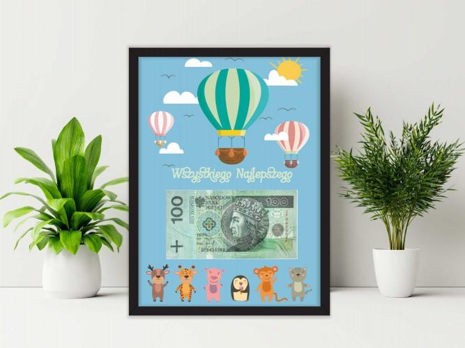 Plakat w ramie na pieniądze, balon PP012 - 1