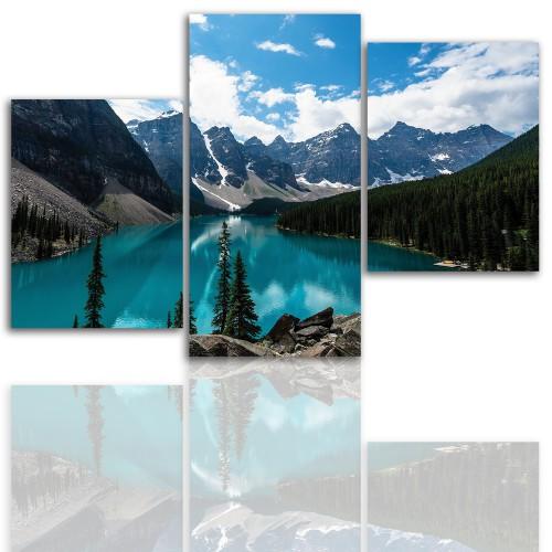 Tryptyk do salonu - Pejzaż, góry, jezioro 12030 - 1