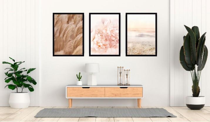 Zestaw trzech plakatów na ścianę styl boho pastele KP047 - 1