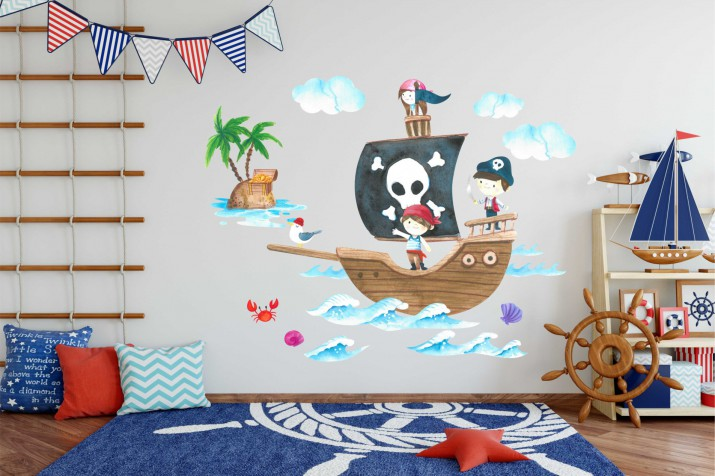 Naklejki na ścianę dla dzieci - 10365  Morze, wyspa, piraci, statek - 1