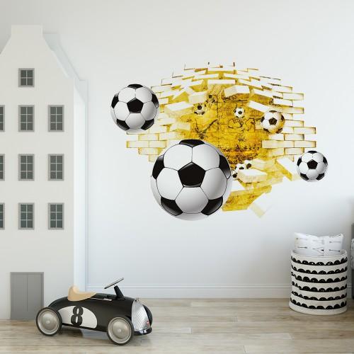Naklejka na ścianę, dziura 3D piłkarze, piłki 2403 - 1