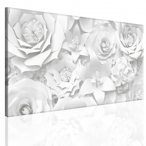 Obraz na ramie płótno canvas- kwiaty, biel, szarość, 15079 - 1