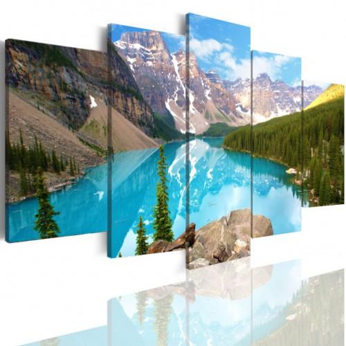 Obraz  5-częściowy-  Jezioro pejzaż góry woda las  505 - 1