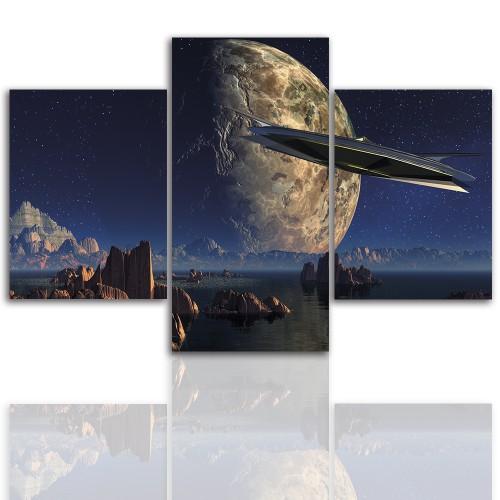 Tryptyk do salonu - Kosmos, ufo, abstrakcja 12258 - 1