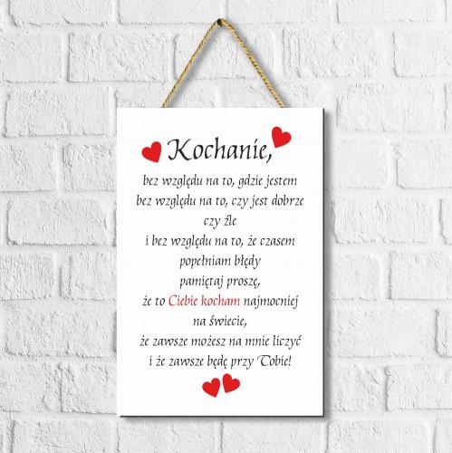 Zawieszka drewniana tabliczka ozdobna prezent na Walentynki  30074 - 1