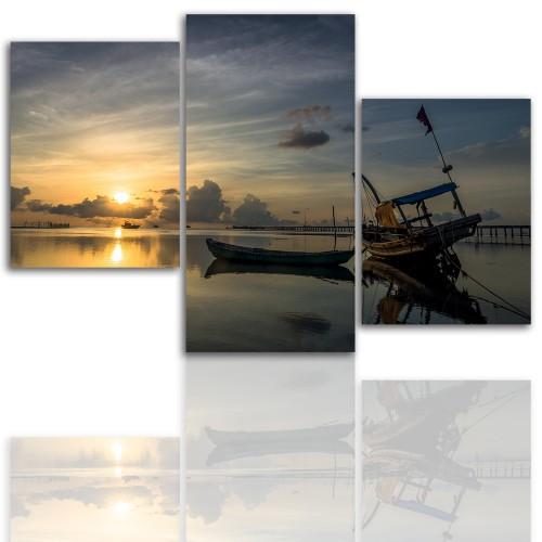 Tryptyk do salonu - Pejzaż, zachód, morze, łódź 12120 - 1