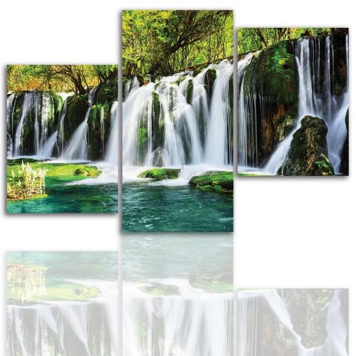 Tryptyk do salonu - Pejzaż, las, wodospad, jezioro 12035 - 1