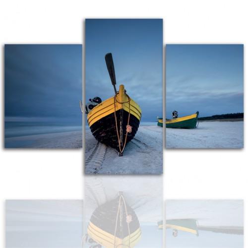 Tryptyk do salonu - Pejzaż, morze, łódź 12180 - 1
