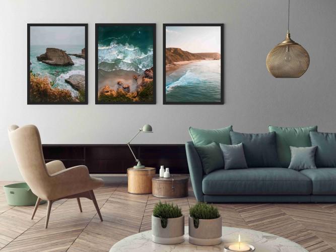 Zestaw trzech plakatów w ramie wybrzeże KP088 - 1