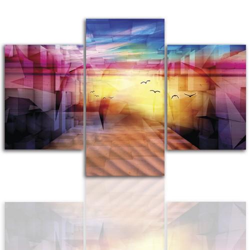 Tryptyk do salonu - Pejzaż, kolorowa abstrakcja 12233 - 1