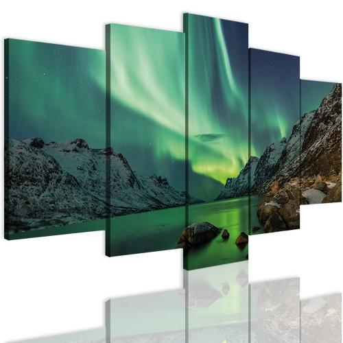 Obrazy 5 częściowe-  Zorza polarna, niebo 12367 - 1