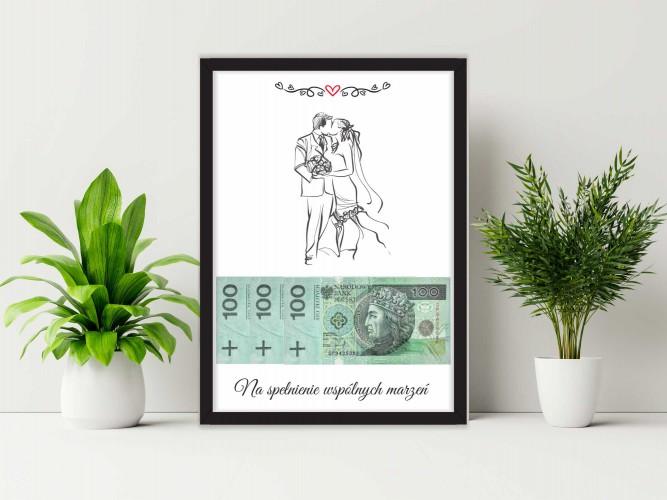 Plakat w ramie na pieniądze, para, ślub PP017 - 1