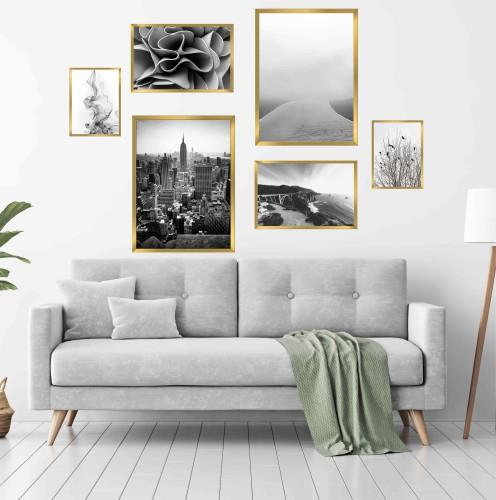 Zestaw pięciu plakatów plakatów plakaty w ramie czerń i biel  KP069 - 1