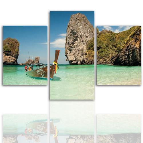 Tryptyk do salonu - Pejzaż, zatoka, morze, wyspa 12041 - 1