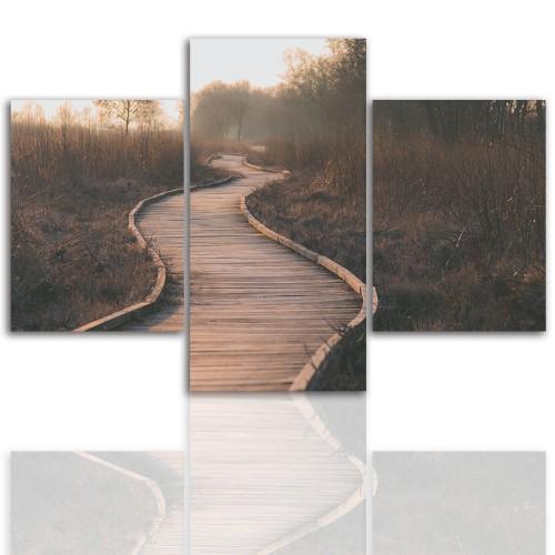 Tryptyk do salonu - Pejzaż, las, droga 12076 - 1