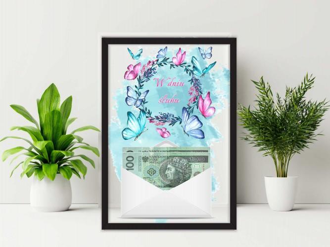 Plakat w ramie na pieniądze, motyle, ślub PP014 - 1