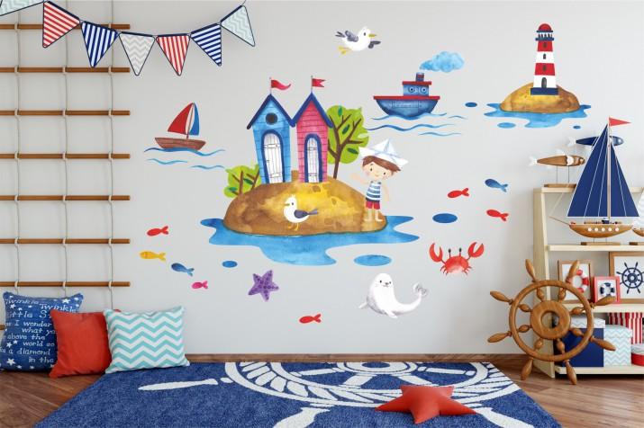 Naklejki na ścianę dla dzieci - 10366 Morze, wyspa, piraci, statek - 1