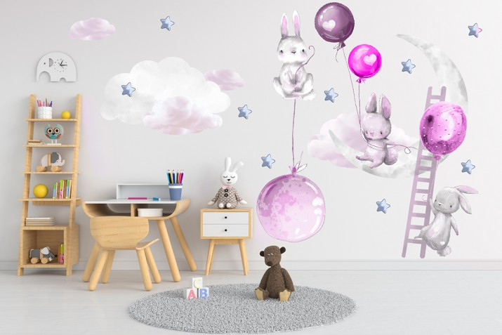 Naklejki dla dzieci na ścianę króliczki fioletowe balony 41489 - 1