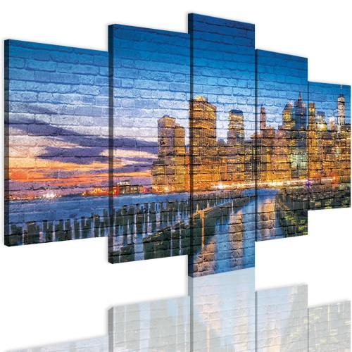Obrazy 5 częściowe-  Nowy Jork, miasto, cegły, ściana 12296 - 1